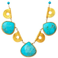 Gold and Turquoise Collar Necklace with Tribal Gold Accents