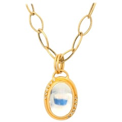 Contemporary Oval Moonstone and Gold Vermeil Pendant with Diamonds