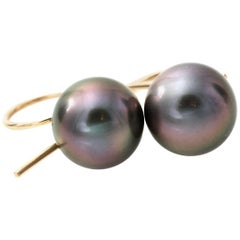 Tahitian Pearl and 18 Karat Gold Earrings