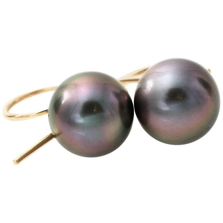 Tahitian Pearl and 18 Karat Gold Earrings