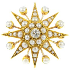 Late Victorian Diamond and Split Pearl Star Brooch