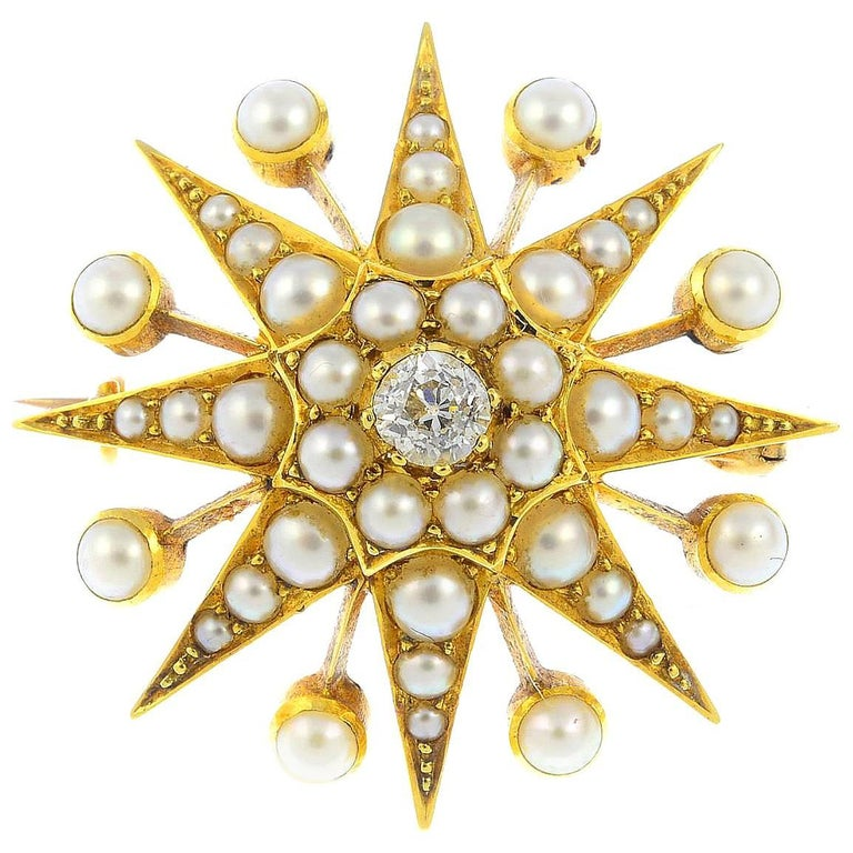 15K Late Victorian Diamond and Split Pearl Star Brooch or Pendant  For Sale