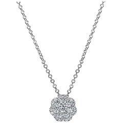 Mark Broumand 1.01 Carat Flower Cluster Diamond Pendant in 14 Karat White Gold