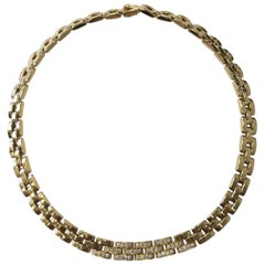 Estate Cartier Maillon Panthere Necklace in 18 Karat Yellow Gold with Diamonds