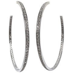 Cartier Large 3.5 Carat Diamond Hoop Earrings in White Gold