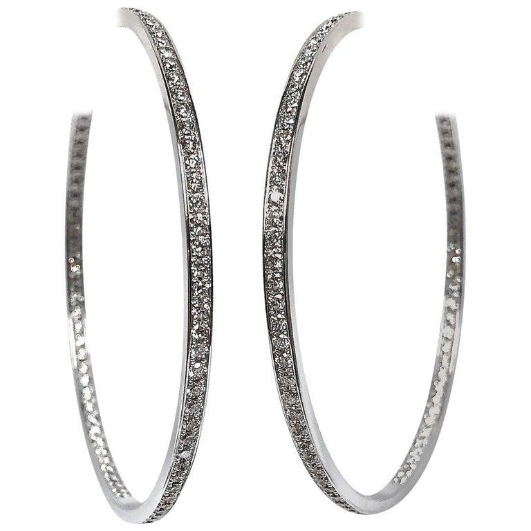 ea9640aca Cartier Large 3 5 Carat Diamond Hoop Earrings In White Gold. Cartier Juste  Un Clou ...
