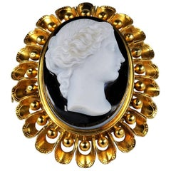 Victorian Large Hard Stone Cameo