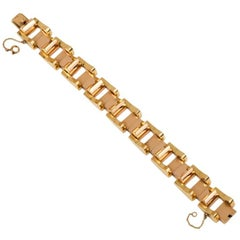 Retro Machine Age Gold Tank Bracelet