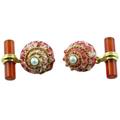 18 Karate Yellow Gold Shell Pearl and Carnelian Cufflinks