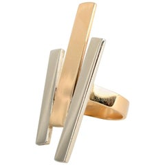 Betty Cooke Geometric Gold and Silver Ring