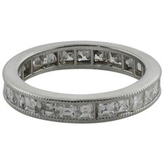 Square Cut Diamond Eternity Ring in White Gold