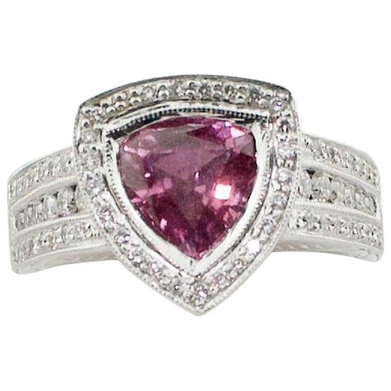 Trillion-Cut Pink Sapphire and Diamond Ring in 18 Karat Gold