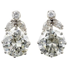 Art Deco 4.40 Carat Brilliant Cut Diamond Solitaire Plus Drop Earrings