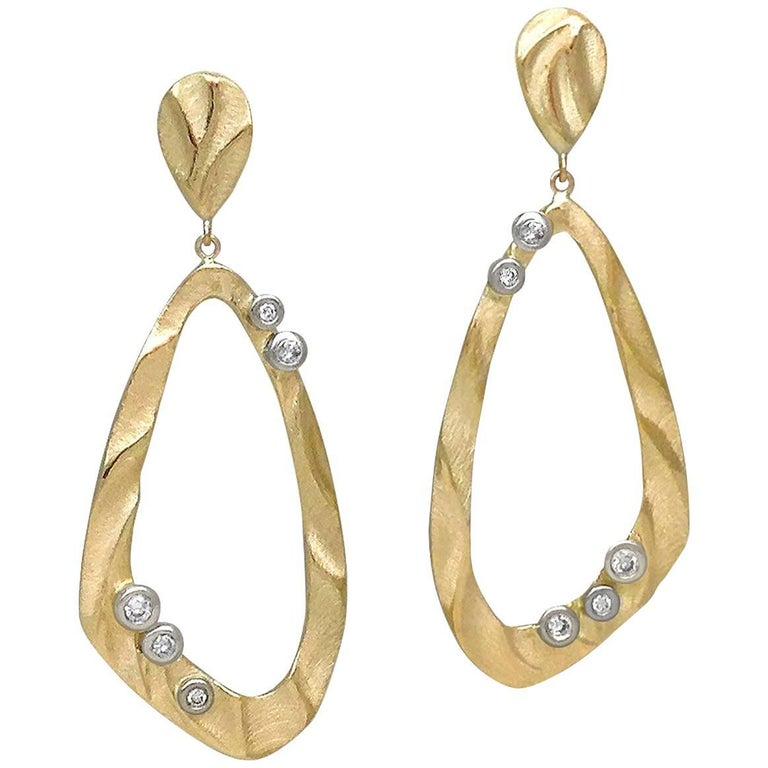 Open Pebble Drop Earrings in 14 Karat Yellow and White Gold with Diamonds