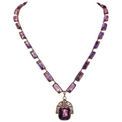 Victorian Amethyst Necklace Spinner Fob