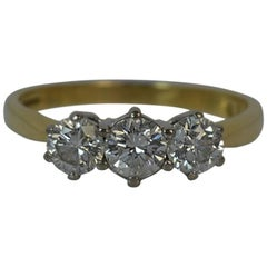 Diamond 18 Carat Yellow Gold Trilogy Ring