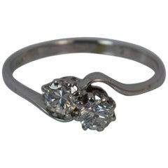 Diamond 18 Carat White Gold Toi Et Moi Twist Two-Stone Ring
