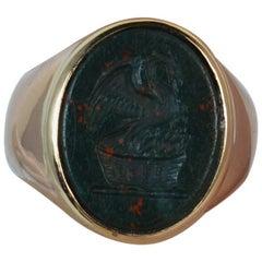Antique 15 Carat Rose Gold Bloodstone Dragon Intaglio Signet Ring