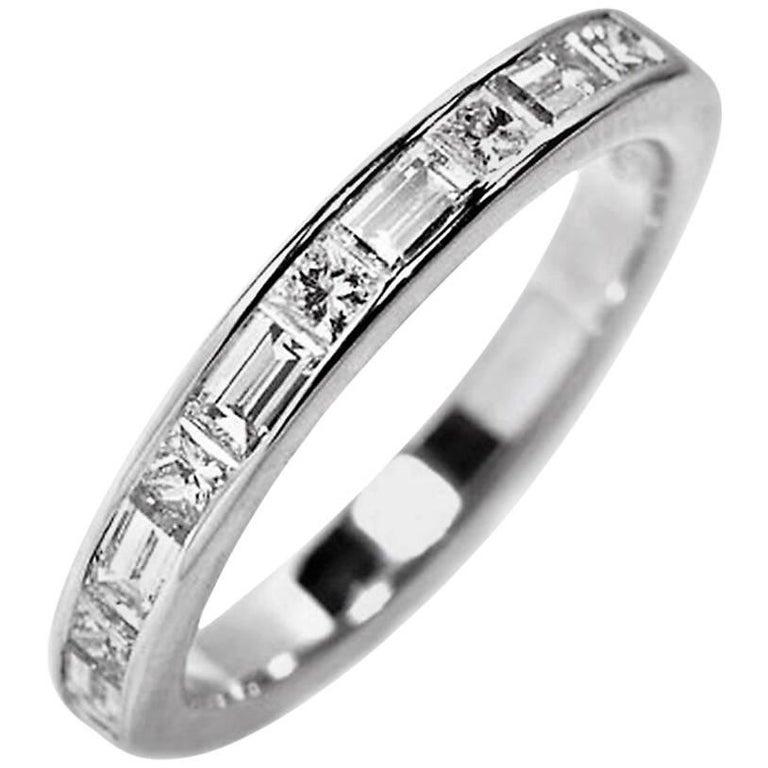 Platinum Baguette Diamond Alternating Princess Cut Diamond Eternity ...