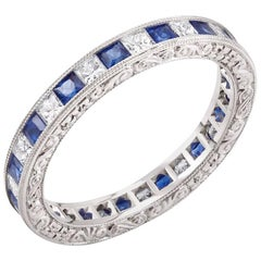 18k White Gold Diamond Alternating Sapphire Eternity Ring