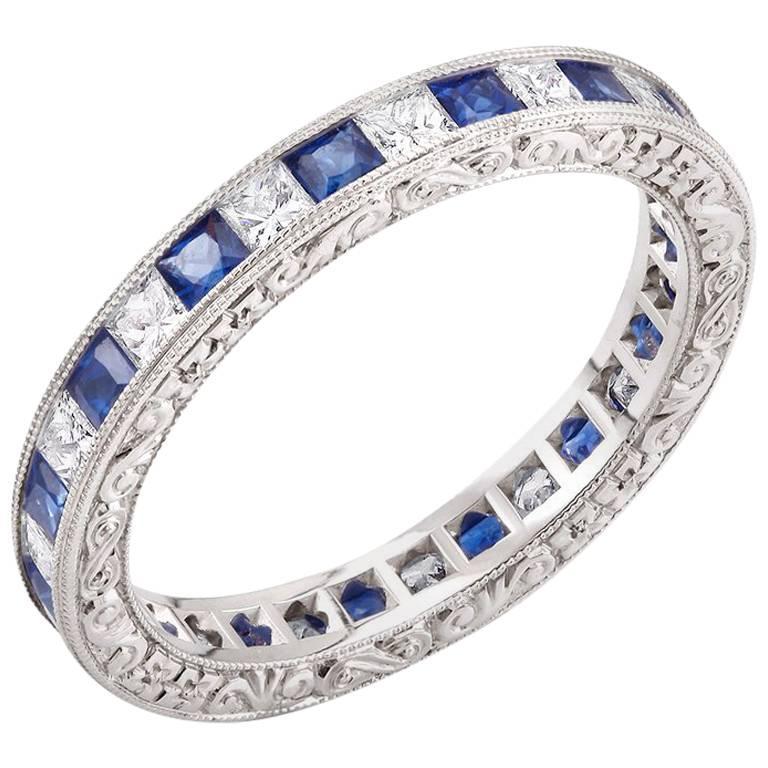 Princess Cut Diamond Alternating Princess Cut Sapphire Eternity Gold Band