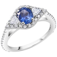 Ceylon Sapphire Cocktail Diamond Ring GIA Certified No Indication Heat
