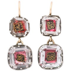 Antique Georgian Double Stuart Crystal Earrings