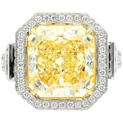 GIA Certified 7.52 Carat Radiant-Cut Fancy Yellow Diamond Ring