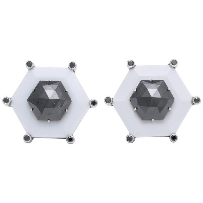 One of a Kind Black Diamond Cufflinks by Michael Kanners