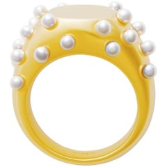 18 Carat Gold Bubble Pearl Ring