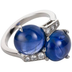 10.12 Carat Unheated Burma Sapphire and Diamond Carvin French Platinum Ring