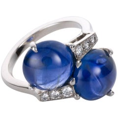 Carvin French 10.12 Carat Unheated Burma Sapphire and Diamond Platinum Ring
