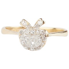 Edwardian Demilune Diamond Bow Ring Platinum and 18 Karat Gold