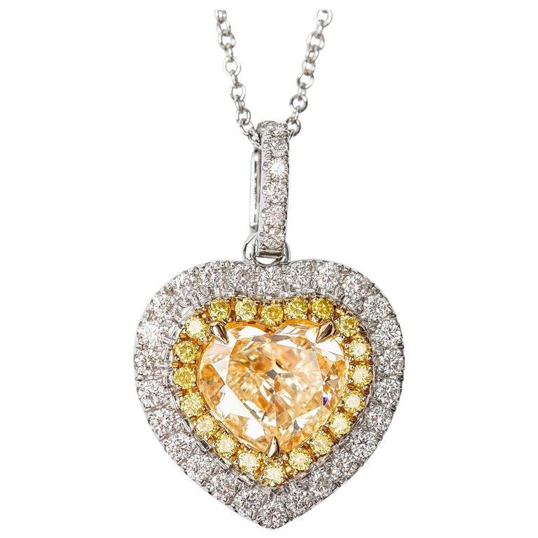 1.70 Carat Heart Shaped White Diamond Round Halo 18 Karat Gold Chain Pendant