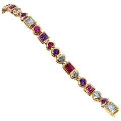 Fine Multicolored Gemstone 18 Karat Rose Gold Bracelet