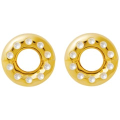 18 Carat yellow Gold Free Growth Pearls Earring