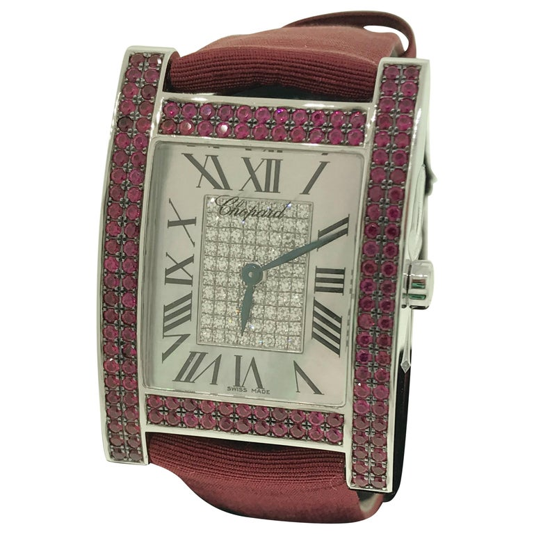 Chopard H White Gold Rubies and Diamonds Satin Band Ladies Watch 17/3451