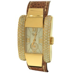 Chopard La Strada Yellow Gold and Diamond Leather Band Ladies Watch