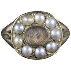 Antique Georgian Mourning Ring 18 Carat Gold Pearl, circa 1830