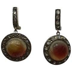 Rose Cut Diamond and Carnelian Scarab Beetle Earrings, circa 1920