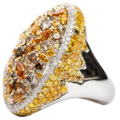 8.84 Carat Orange Yellow Brown Round Cut 18 Karat White Gold Fancy Diamond Ring