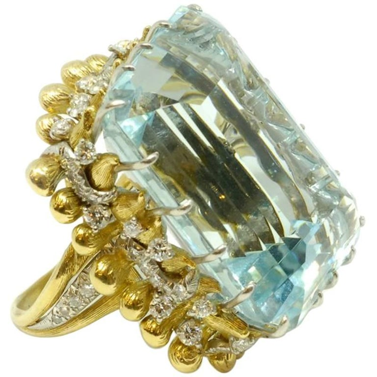 Large Aquamarine Cocktail Ring