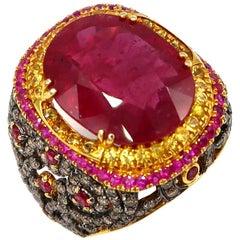 12.50 Carat Ruby Lacework Yellow Sapphire Champagne Diamond Yellow Gold Ring