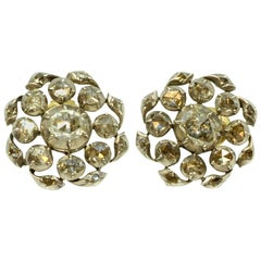 Georgian Rose Cut Diamond Button Earrings
