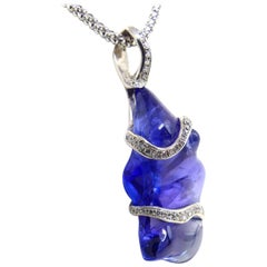 Fine Tanzanite and Diamonds 18 Karat White Gold Pendant