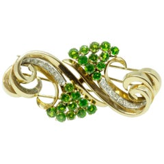 Demantoid and Diamond Set Double Clips or Brooch