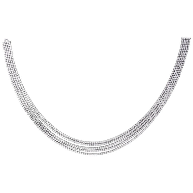 46.62 Carat Round Brilliant 18 Karat White Gold Diamond layered Line Necklace