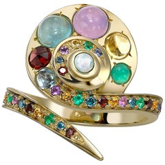 Venyx 18 Karat Gold Diamond Opal Emerald Colored Stone Moonshell Ring