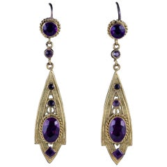 Antique Victorian Drop Earrings Purple Paste Gold Gilt, circa 1900