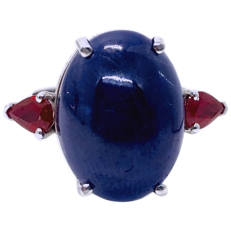 16.60 Carat Natural Oval Sapphire Cabochon Diamond Ruby Cocktail Ring
